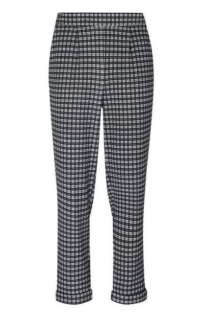 Pantalon carotte noir et blanc à carreaux