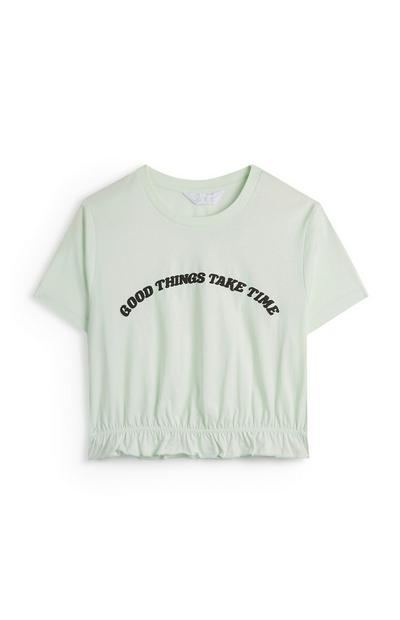 Good Things Take Time Mint Slogan T-Shirt