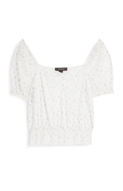 Ivory Ruched Mesh Top
