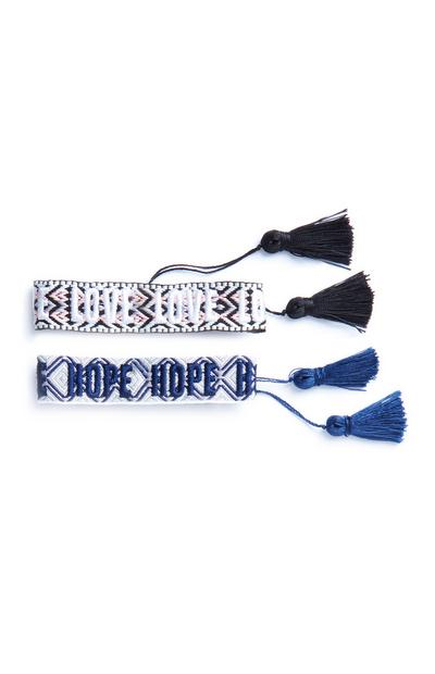 Lot de 2 bracelets en jacquard Love et Hope