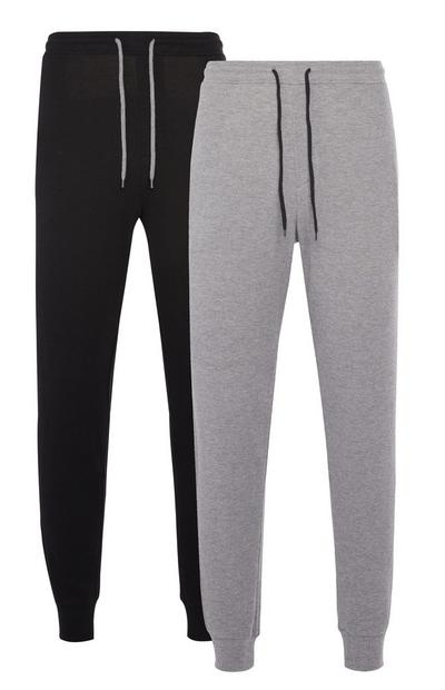 2-Pack Black and Gray Jersey Waffle Joggers