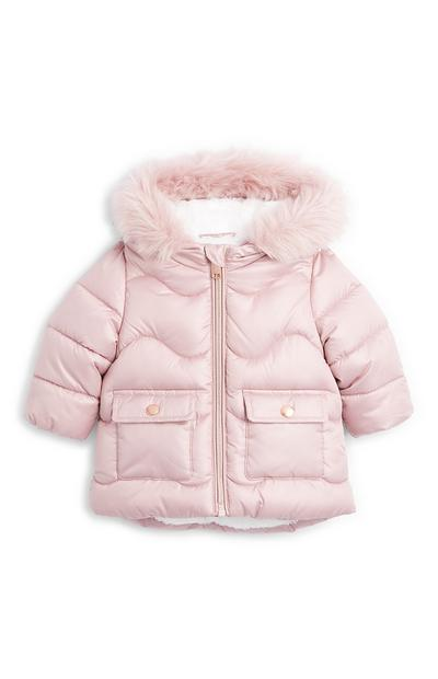 Baby Girl Pink Shiny Padded Jacket
