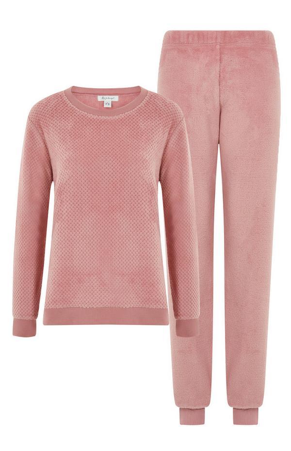 Pijama tecido polar cor-de-rosa