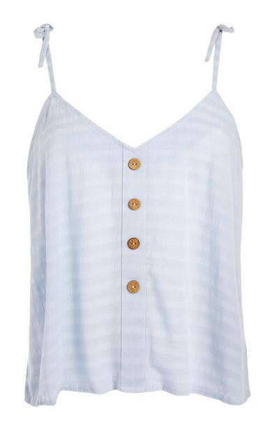 Blauw hemdje met houten knoopjes