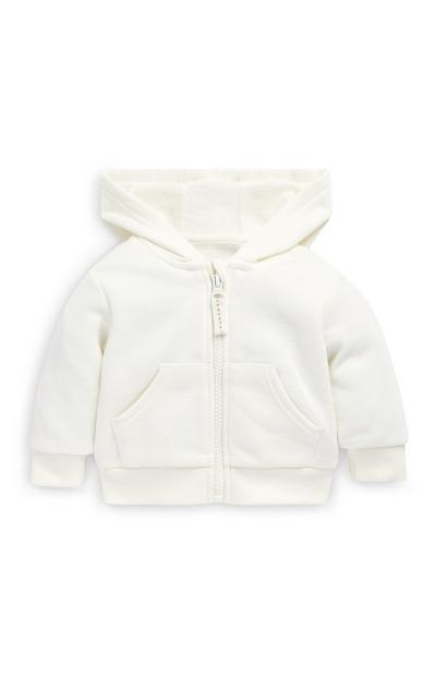 Baby Girl White Zip Up Hoodie