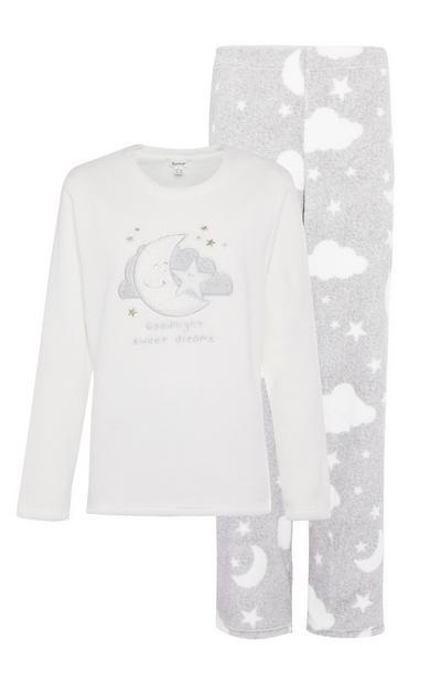 Grey Sherpa Applique Pyjama Set