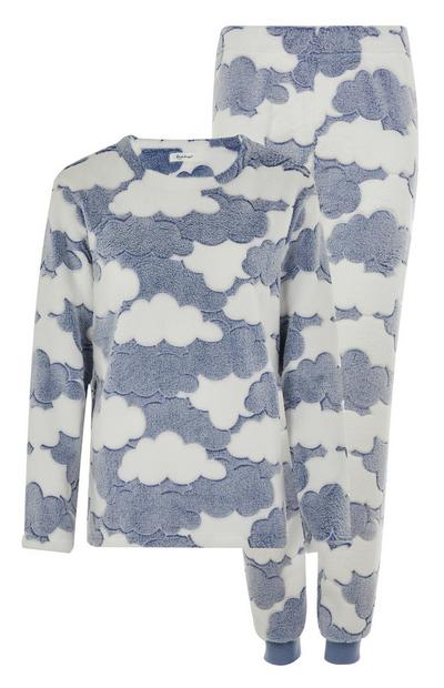 Blue and White Cloud Pattern Pyjama Set