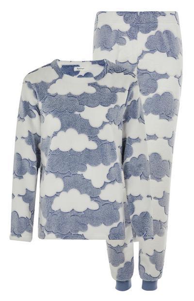 Blauw-witte pyjama met wolkenmotief