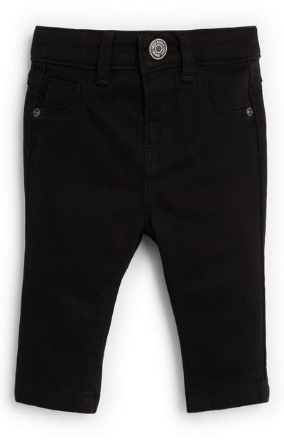 Baby Boy Twill Skinny Black Pants