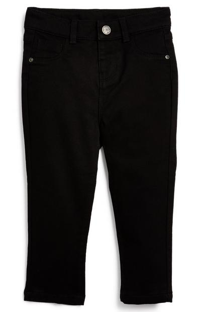 Pantalón pitillo negro de sarga para bebé niño