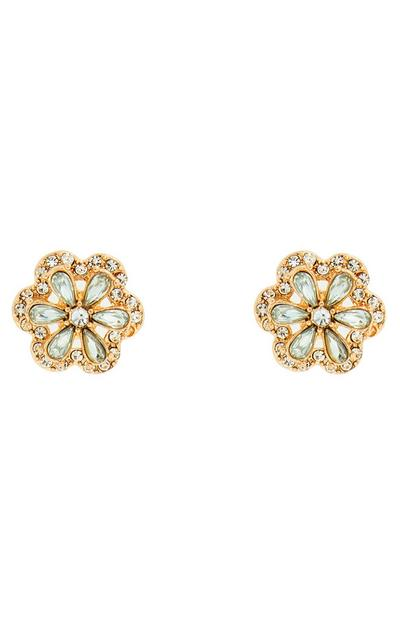 Goldtone Diamonte Flower Stud Earrings
