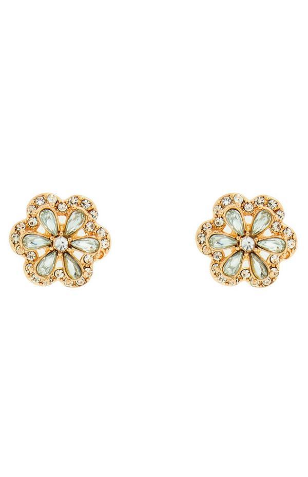 Cvetlični zlati uhani z diamanti