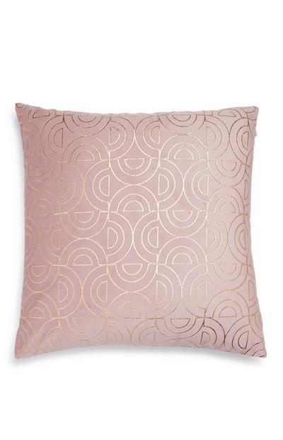 Roze kussenhoes met glanzende geometrische print
