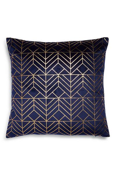 Donkerblauwe kussenhoes met glanzende geometrische print