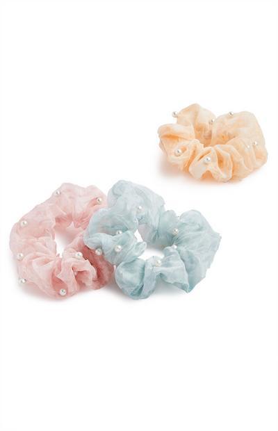 Pack de 3 coleteros con adornos de perlas
