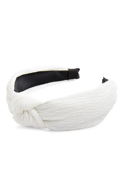 White Crinkle Knot Headband