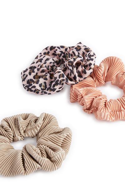 Pack de 3 coleteros con efecto arrugado y estampado de leopardo