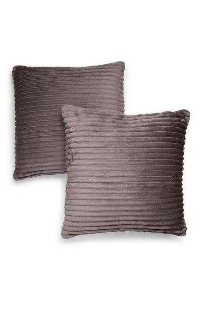 Grey Textured Cushions 2 Pack