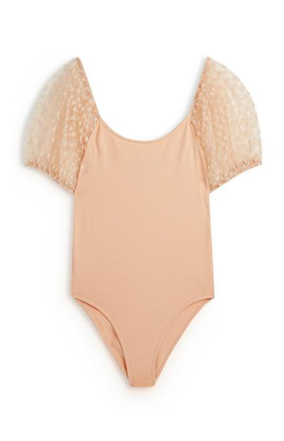 Body rosa palo de malla con mangas abombadas con lunares
