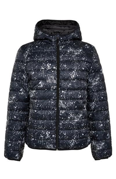 Navy Splatter Hooded Puffer Jacket