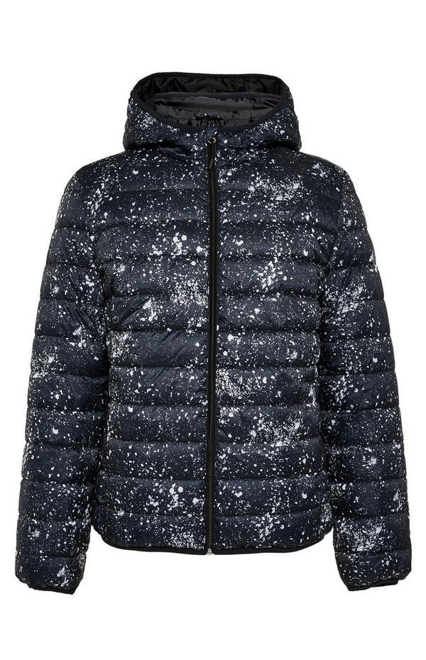 Navy Splatter Hooded Puffer Jacket