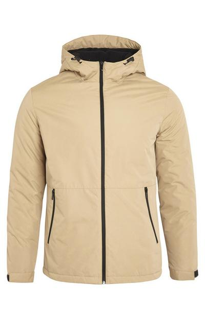 Beige Basic Hooded Zip Up Jacket With Pockets