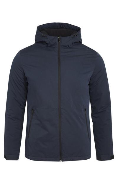 Navy Basic Hooded Zip Up Jacket With Pockets
