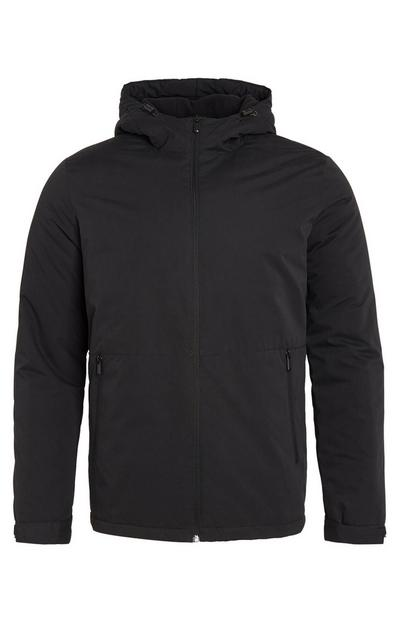 Black Basic Hooded Zip Up Jacket With Pockets