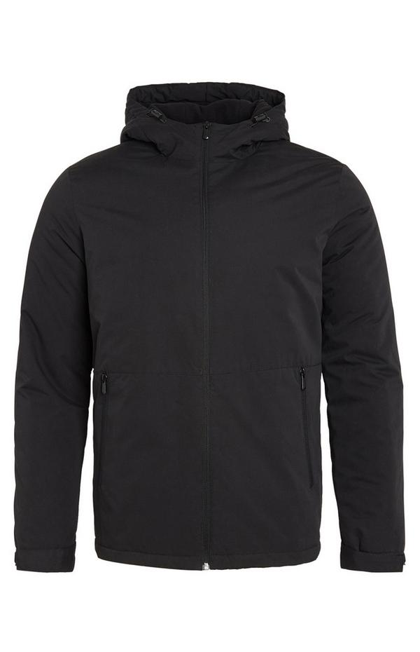 Black Hooded Zip Jacket With Pockets