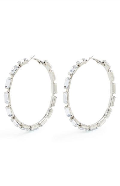 Large Diamante Hoop Earrings