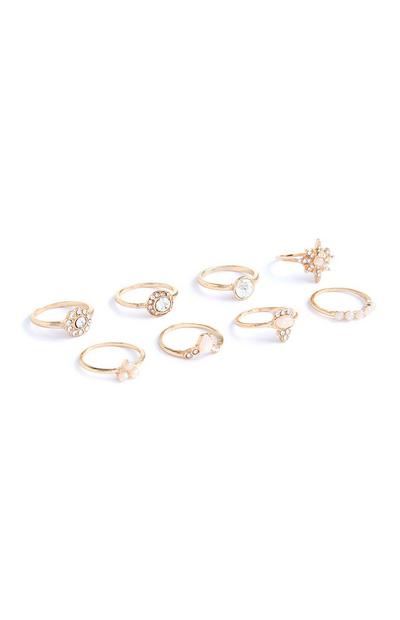 8-Pack Gold Rhinestone Rings