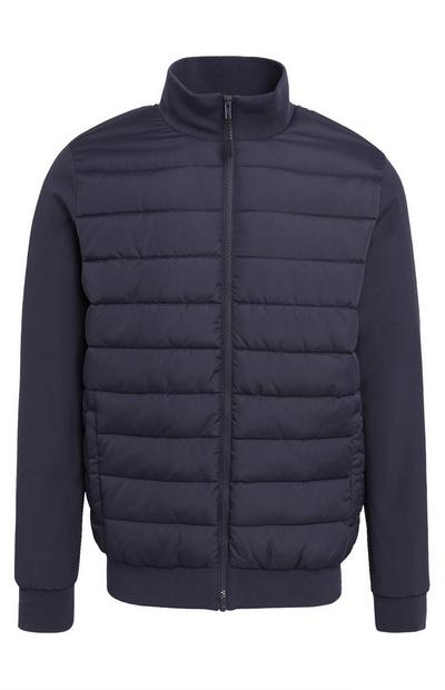 Navy Funnel Neck Hybrid Puffer Coat