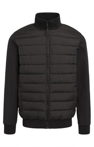 Black Funnel Neck Hybrid Puffer Coat