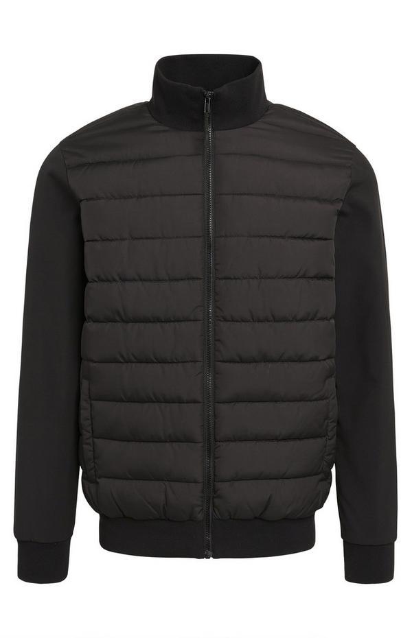 Black Funnel Neck Hybrid Puffer Coat