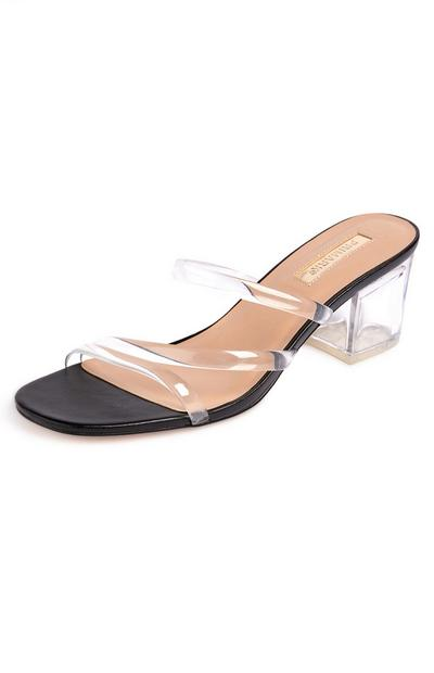 Clear Strap Heeled Mules