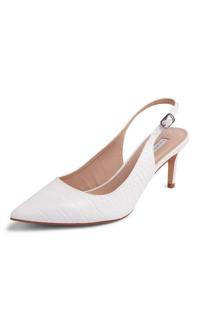 White Slingback Stiletto Court Shoes