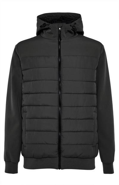 Black Hybrid Hooded Jacket