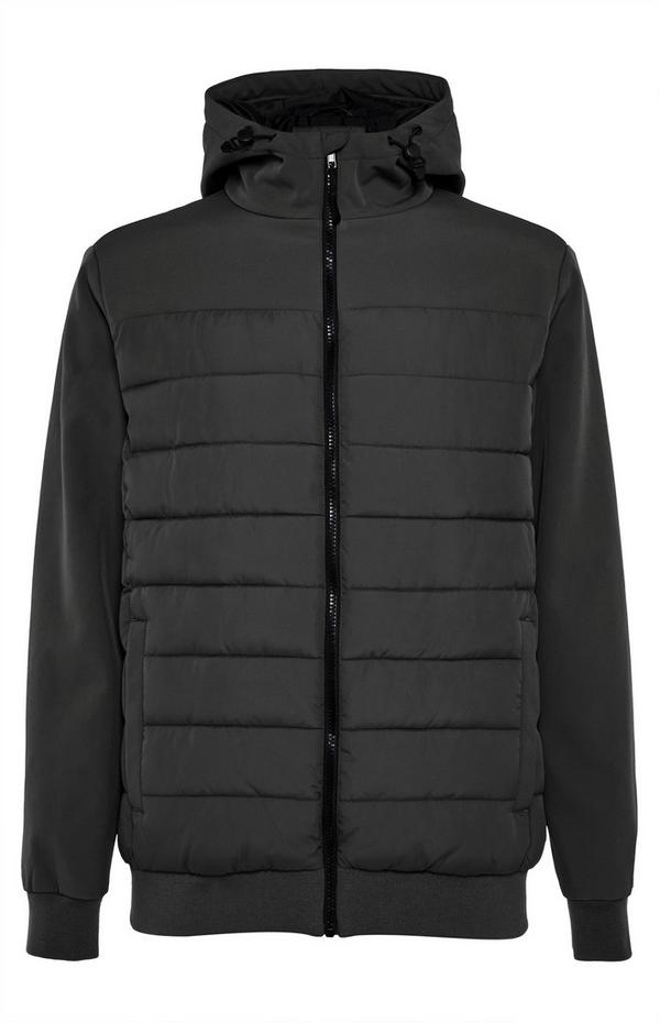 Zwarte hybride jas met capuchon