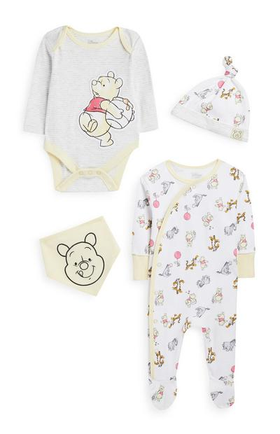 White And Yellow Winnie The Pooh 4-Piece Baby Starter Set