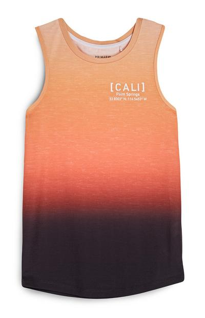 Older Boy Orange Ombre Tank