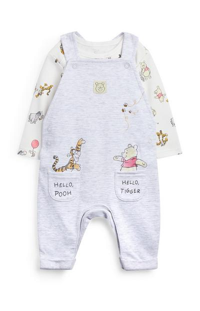Gray Winnie The Pooh Overall Set