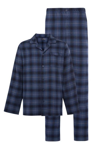 Navy and Blue Classic Check Brushed Pyjama Set