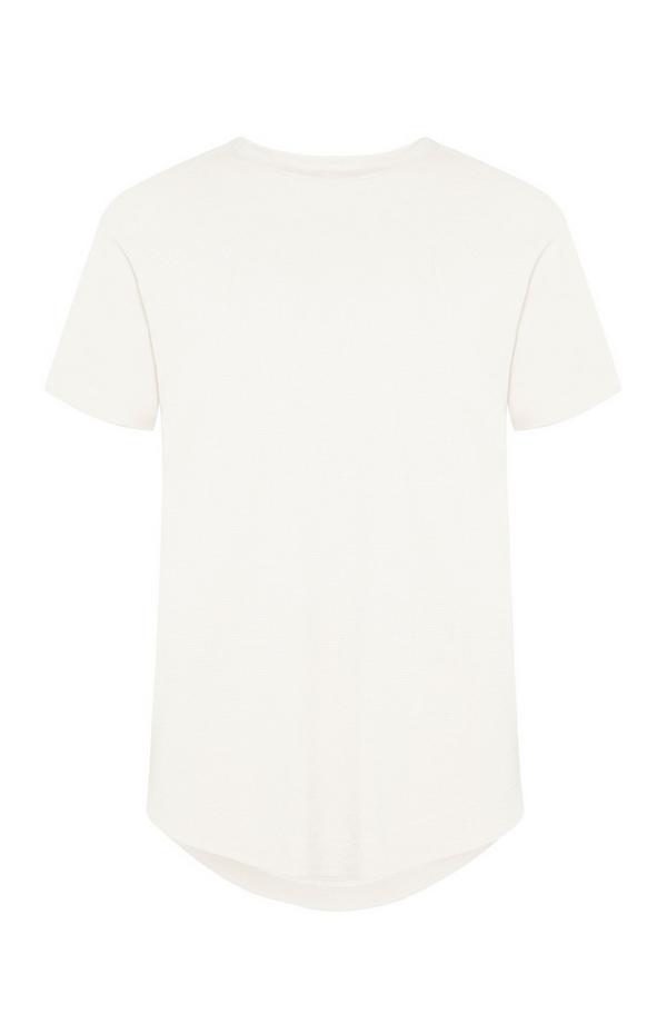 T-shirt blanc à micro maille gaufrée