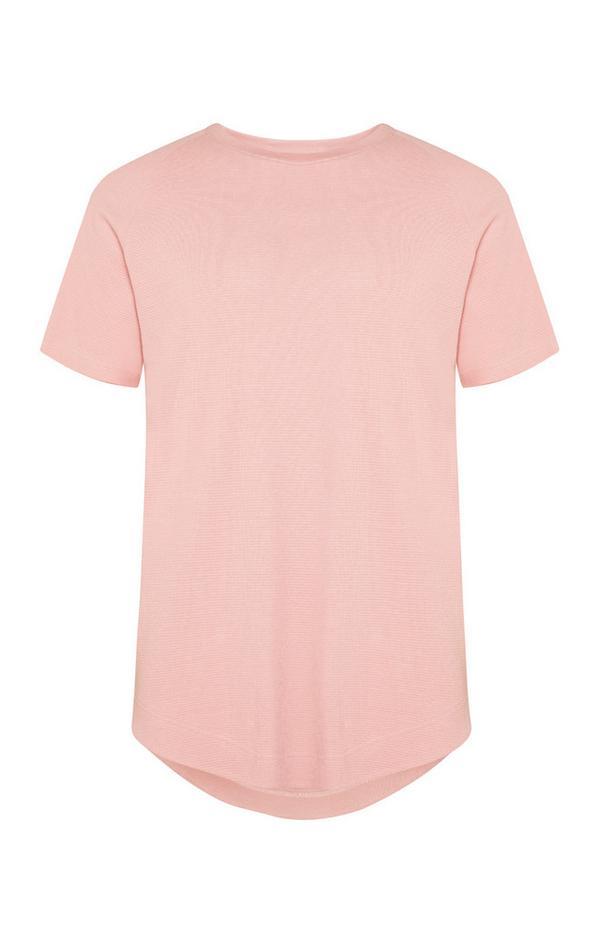 Blassrosa T-Shirt mit Mikro-Waffelmuster