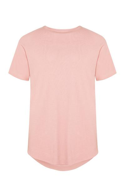 Poederroze T-shirt met microwafelstructuur