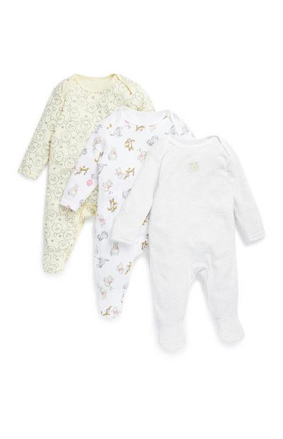 3 pigiamini gialli Winnie The Pooh da neonato