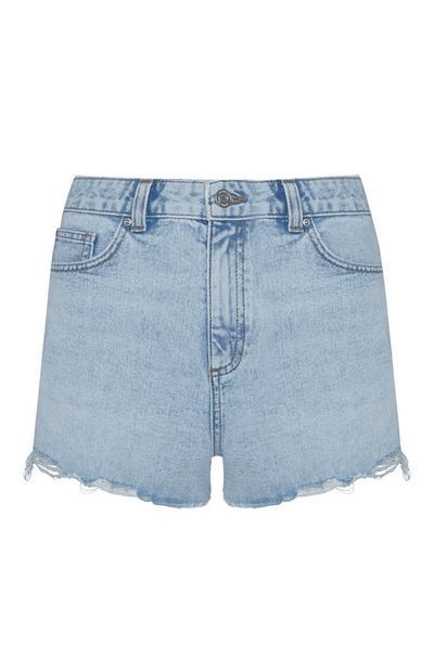 Blue Denim Authentic Raw Hem Shorts