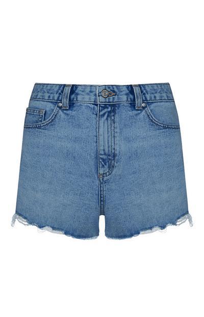 Shorts blu scuro sfrangiati a vita alta