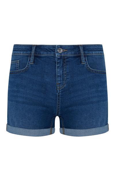 Dark Blue Cuffed Denim Shorts
