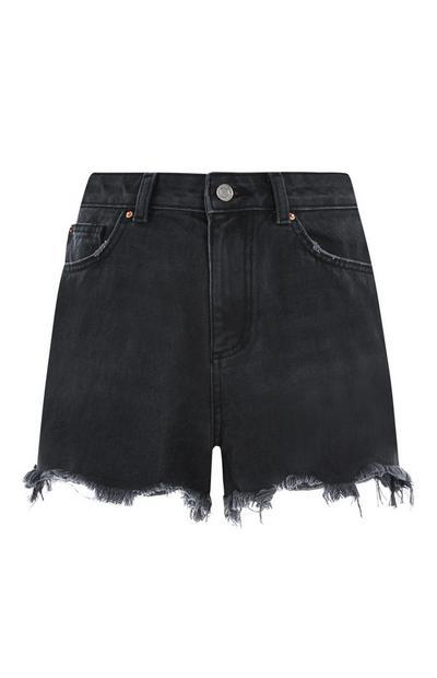 Black Cuffed Denim Shorts